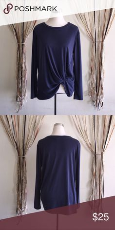 Navy long sleeve Modal Rib top 70%Modal 30%Polyester - Made in U.S.A - measurements upon request per interested size. Hummingbird Tops Blouses