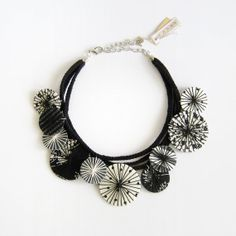 Statement fabric necklace black & white fabric by LENNYshop, $48.00