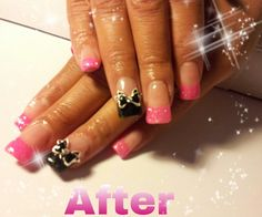 Pink and black UV Gel builder glitter tips