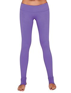 Yoga Reflex Women's Active Workout Running Yoga Stirrup Pants - Hidden Pocket , Purple , Large * You can get more details by clicking on the image.