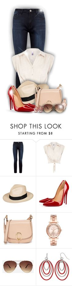 """Red shoes for summer!"" by asia-12 ❤ liked on Polyvore featuring DL1961 Premium Denim, H! by Henry Holland, Roxy, Christian Louboutin, MICHAEL Michael Kors, Michael Kors and Ashley Stewart"