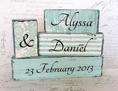 Custom Wedding Word Block Set - by CROSSyourHEART on madeit