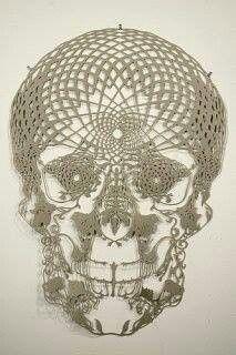 Intricate crochet skull