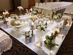 Antique Gold sofreh set up on white vinyl platform. One King West Hotel Toronto Iranian Wedding, Persian Wedding, Event Venues, Wedding Venues, One King West, Graydon Hall Manor, Cambridge Ontario, York Hotels
