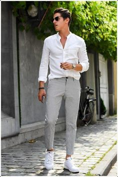 Hot fresh summer style for White button down shirt with grey pants and white sneakers. Hot fresh summer style for White button down shirt with grey pants and white sneakers. Style Outfits, Cool Outfits, Summer Outfits, Outfits For Men, White Outfit For Men, Trendy Outfits, Pantalon Streetwear, Grey Pants Outfit, Mens Grey Pants