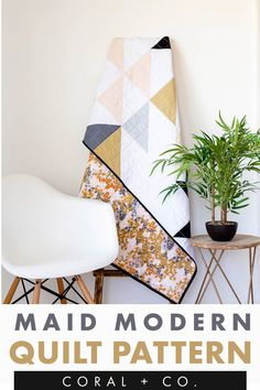 EASY Half Square Triangle Quilt Pattern.  Learn to quilt with this beginner friendly quilt pattern.