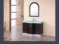 Design Element Dec024-gtp Jade 48 inch Single Sink Vanity Set in Espresso w/ Glass Top
