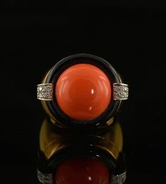 Spectacular salmon coral black onyx and diamond by hawkantiques