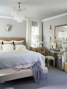 Glamorous Master Bedroom... an option would be to put my vanity on the side wall and got with a small night stand like this room but it seems a bit tight to me. Like the idea of a mirrored piece or two in the room to reflect light and glam it up old school