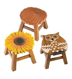 Hand Carved Wooden Stools in Fall 2012 from Plow & Hearth Carved Wood Wall Art, Wood Art, Hand Carved, Painting Kids Furniture, Painting For Kids, Sunroom Furniture, Wooden Furniture, Outdoor Furniture, Dremel Wood Carving