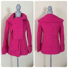 J. Crew Boucle' Wool Scarf Coat J. Crew Boucle' Wool Scarf Coat. Hot pink/berry color. Fully lined in satin, 2 pockets, 4 buttons. Love the look and feel of the wool - see close up in the tag photo  Sz 0, although I think it would fit a Sz 2 as well. Only wore a couple times, now it's too small. ❌trades J. Crew Jackets & Coats