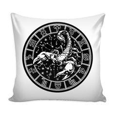 SCORPIO Zodiac Pillow Cover White by ProsperousJewels on Etsy
