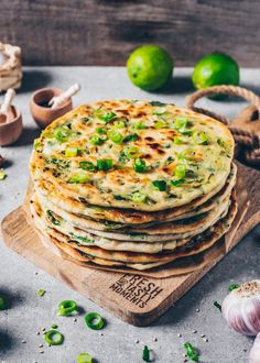 These Vegan Scallion Pancakes are a crispy pan-fried Chinese flatbread which are incredibly delicious and very easy to make! They're also known as green onion pancakes and can be made with chives or leeks too! This Recipe contains step-by-step pictures! Vegan Vegetarian, Vegetarian Recipes, Cooking Recipes, Paleo, Scallion Pancakes, Gluten Free Puff Pastry, Vegan Pancakes, Vegan Appetizers, Vegan Snacks