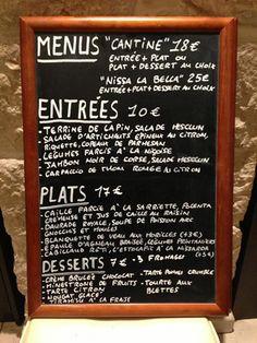 Bistro L'Ecole de Nice Bistro, Dessert, French Food, Nice, Chalkboard Quotes, Art Quotes, Restaurants, Menu, Signs