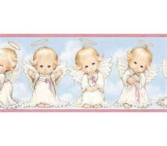 Pink Cute Angels Wallpaper Border - Baby Nursery Kids love this border my baby will always be watched over by the angels