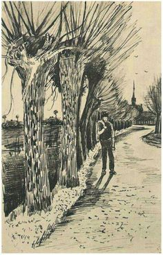 Vinsent Van Gogh:  Road with Pollard Willows Letter sketches 1881 Amsterdam, The Netherlands