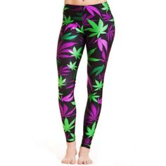 Sporting Fitness Weed Leaf Purple&Green Leggins //Price: $29.58 & FREE Shipping //     #weed
