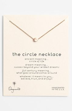 The circle necklace: Love it!