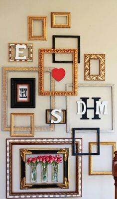 Check out these empty frames. You can use picture hanging strips to hang everything on the wall – not one hole. They come off cleanly and won't damage your walls! ------------- #gallery #wall #picture #frames #tips #diy