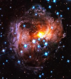Space image square format, beautiful orange, red and blue tones, black background.  The light echo around the star V838 Monocerotis as seen by the Hubble Space Telescope. Digital painting with vibrant colors. Available as poster, framed fine art print, metal, acrylic or canvas print. Bring the universe in your home or office! Image credit for the original picture: NASA, ESA and H. Bond (STScI)