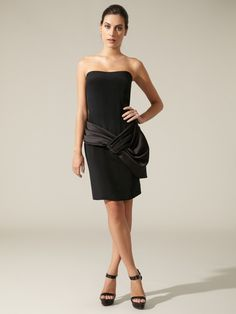 Pleated Satin Panel Dress by Notte By Marchesa on Gilt.com