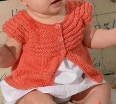 Spring Baby Jacket - The Thousand Mailed Trunk , Cardigan Bebe, Dress With Cardigan, Baby Cardigan, Baby Knitting, Crochet Baby, Skirt Pattern Free, Knit Baby Dress, Spring Jackets, Baby Wearing