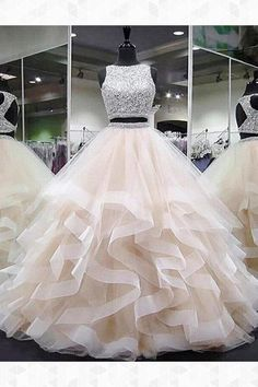 Prom Dresses Long, Evening Dresses Two Piece, Open Back Evening Dresses, Prom Dresses Sleeveless Prom Dresses Prom Dresses 2019 Sequin Prom Dresses, Pretty Prom Dresses, Ball Gowns Prom, Ball Dresses, Dress Long, Ball Gown Prom Dresses, Two Piece Quinceanera Dresses, Champagne Quinceanera Dresses, Long Dresses