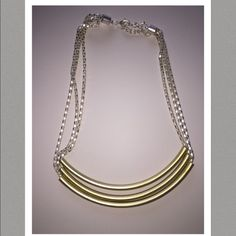 3 Strand Chic Gold & Silver Necklace New