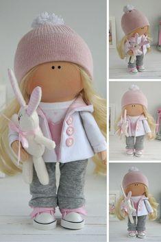 Baby doll handmade Tilda doll Interior doll Art doll blonde grey pink colors Soft doll Cloth doll Textile doll by Master Maria Lazareva Fabric Dolls, Paper Dolls, Rag Dolls, Pink Doll, Waldorf Dolls, Boy Doll, Soft Dolls, Vintage Dolls, Antique Dolls