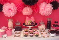 Pink and leopard party sweets table Harmon Cook Pink Leopard Party, Cheetah Print Party, Animal Print Party, Pink Cheetah, Happy 16th Birthday, Baby First Birthday, Girl Birthday, Birthday Ideas, Leopard Birthday Parties