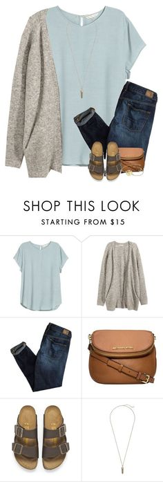 """Starting right now I'll be strong."" by your-daily-prep ❤ liked on Polyvore featuring H&M, American Eagle Outfitters, Michael Kors, Birkenstock and Kendra Scott"