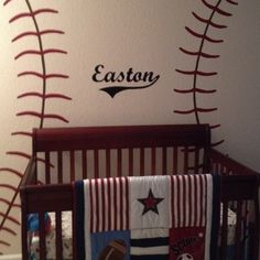Baseball Nursery - wish I had have seen this wall art earlier!! Soooo cute. And even made our top two baby boys names :)