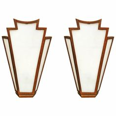 Pair of Large French Art Deco Bronze Slag Glass Wall Sconces | From a unique collection of antique and modern wall lights and sconces at https://www.1stdibs.com/furniture/lighting/sconces-wall-lights/