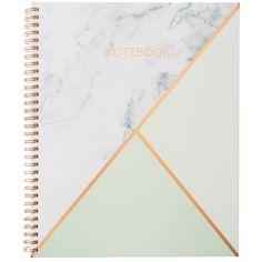Large Spiral Notebook Geo Mint by Hobbry ❤ liked on Polyvore featuring home, home decor and stationery