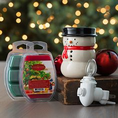 Pluggable Fragrance Warmer Snowman Combo 2oz. Wax Melt Christmas Day and Balsam Fir by Candle Warmers Etc