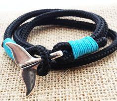 Whale Tale Wrap Bracelet Nautical Bracelet Men's by SnowyOwlsNest #whaletailbracelet #whales #nauticalgifts #giftsformen #style #mensfashion #wristwear #cool #etsyhandmade