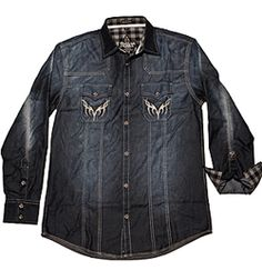 gorgeous this denim shirt with plaid detailing on cuffs and collar