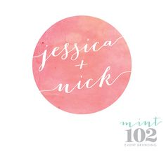 Like the coloring of the watercolors (not the actual colors but the idea) Wedding Logo Design, Wedding Logos, Wedding Card, Watercolor Logo, Watercolor Wedding, Event Branding, Branding Design, Logo Monogramme, Bridal Logo