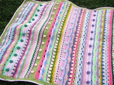 Afghan crochet baby blanket bubbles colorful bright por EnaHarmony