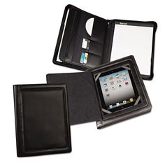 Ipad Zipper Padfolio With Smart Magnetic Flap, Vinyl, Black