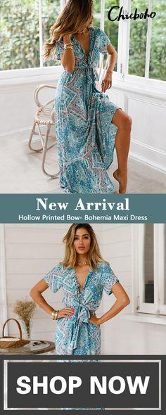 New Season New Style. Hollow Printed Bow- Bohemia Maxi Dress, free shipping for orders $59+ Cute Dresses, Dresses For Sale, Summer Dresses, Casual Dresses, Girls Dresses, Formal Dresses, Awesome Dresses, Les Plus Belles Robes, Boho Fashion