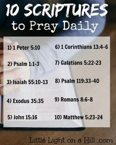 Memorizing scriptures is so vital to our lives as Christians. We should etch the scriptures onto our hearts and speak them daily. Here are my favorites! Prayer Scriptures, Bible Prayers, Spiritual Prayers, Prayer Board, Daily Prayer, Bible Quotes, Biblical Quotes, Faith Quotes, Word Of God