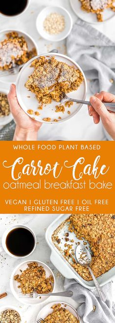 DELICIOUS Carrot Cake Oatmeal Breakfast Bake! Calling all carrot cake lovers! Take your brunch to the next level with this super delicious Carrot Cake Oatmeal Breakfast Bake. #vegan #glutenfree #oilfree #breakfast #veganbreakfast #brunch #veganbrunch #car