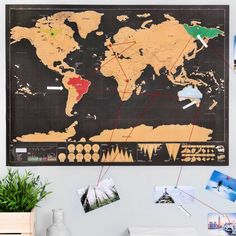 Deluxe Scratch Off® 'Push Pin World Map Bundle