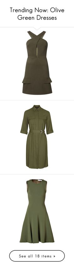 """Trending Now: Olive Green Dresses"" by polyvore-editorial ❤ liked on Polyvore featuring olivegreendress, dresses, short bodycon dresses, green body con dress, short green dress, short ruffle dress, summer dresses, khaki, rayon dress and long shirt dress"