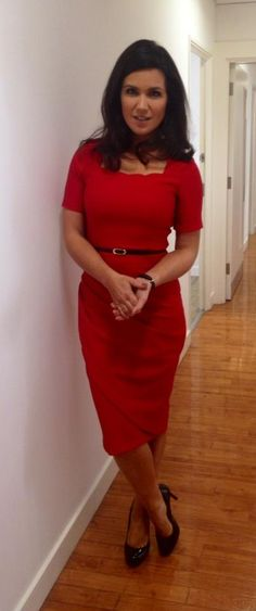 Red Dress Skinny Black Belt and Black High Heels Modest Outfits, Cool Outfits, Charlotte Hawkins, Dress Skirt, Dress Up, Susanna Reid, Friend Outfits, Office Fashion, Work Attire