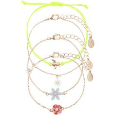 Accessorize 4 x Pretty Floral Friendship Bracelets ($16) ❤ liked on Polyvore featuring jewelry, bracelets, charm bangle, flower jewelry, chains jewelry, friendship bracelet and charm jewelry