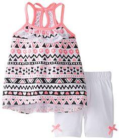 Little Lass Baby Girls' Printed Knit Keyhole Back Detail Bike Short Set Hot Pink 24 Months Outfits Niños, Short Outfits, Toddler Outfits, Kids Outfits, Baby Outfits, Little Girl Fashion, Toddler Fashion, Kids Fashion, Japonese Girl