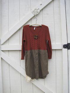 Rustic sweater dress Boho mini dress Boho tunic by ShabyVintage, $45.90