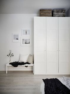 IKEA PAX wardrobe painted white instead of frosted glass Ikea Bedroom Furniture, Ikea Bedroom Storage, Ikea Storage, Bedroom Dressers, Closet Storage, Ikea Bedroom White, Storage Ideas, Bed Ikea, Hallway Storage